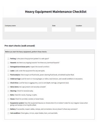 heavy equipment maintenance checklist