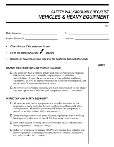 heavy vehicle equipment inspection checklist