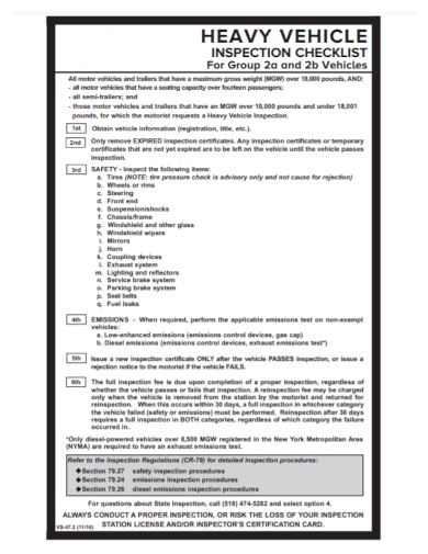 heavy vehicle safety inspection checklist