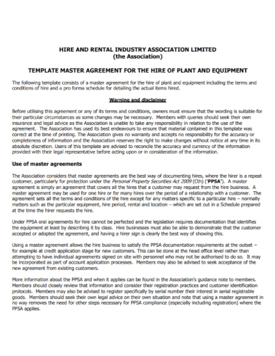 hire and rental master agreement