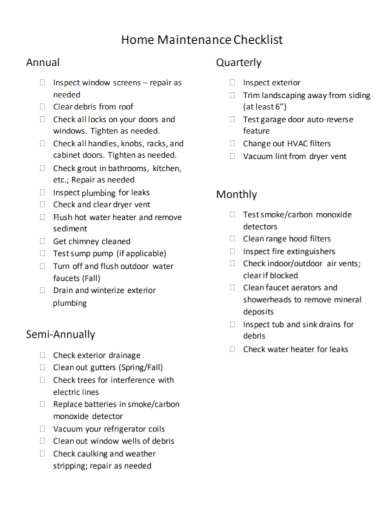 home annual plumbing maintenance checklist