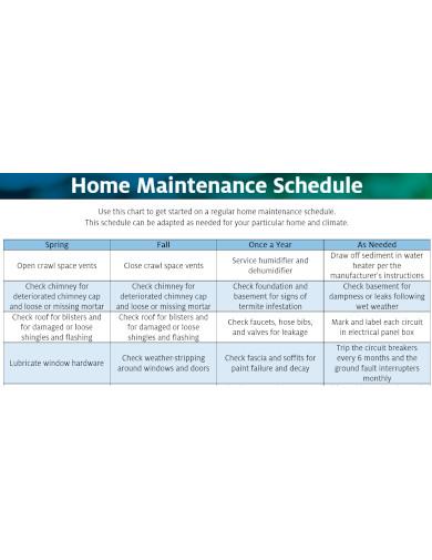 home maintenance schedule formats