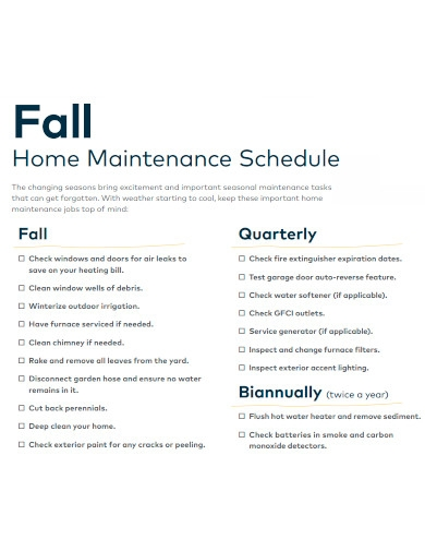 home maintenance schedule sample
