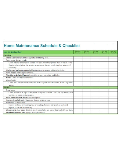 home maintenance schedule and checklists