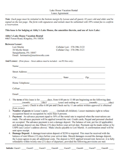 house vacation rental lease agreement