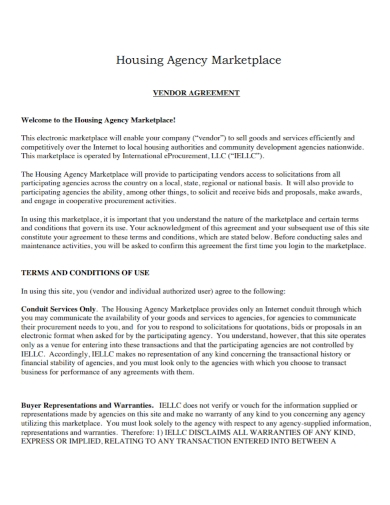 housing agency marketplace vendor agreement