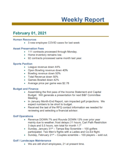 human resources employee weekly report