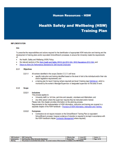 human resources health and safety training plan
