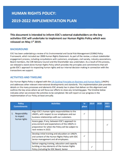 human rights policy implementation plan