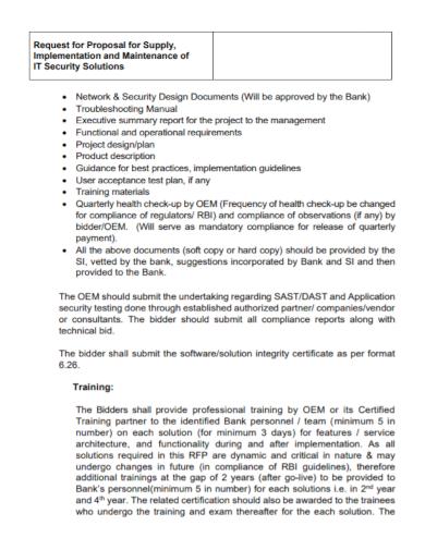 it security maintenance training proposal