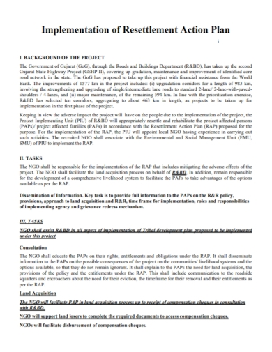 implementation of resettlement action plan