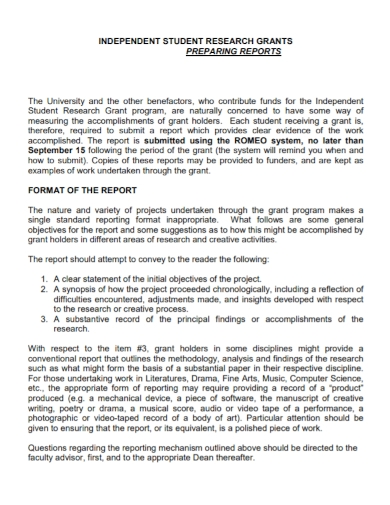 independent student research grants report