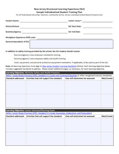 individualized student training plan