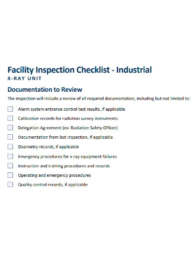industrial facility inspection checklist