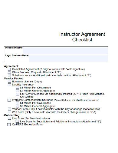 instructor agreement checklist