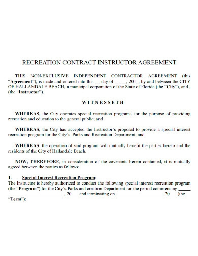 instructor agreement format