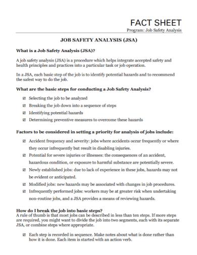 job safety analysis fact sheet