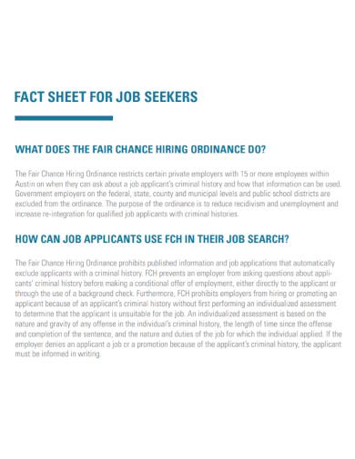 job seeker fact sheet