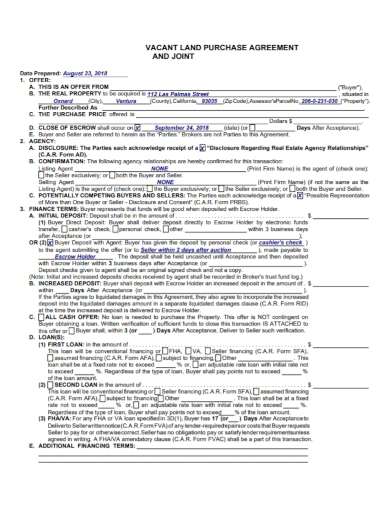 joint vacant land purchase agreement
