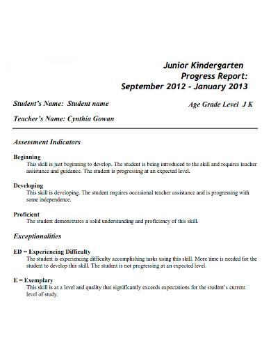 junior kindergarten progress report