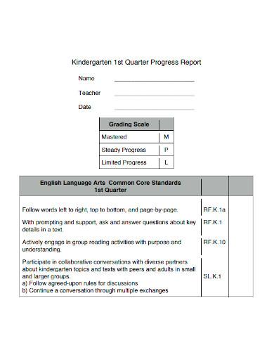 kindergarten 1st quarter progress report