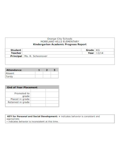 kindergarten academic progress report