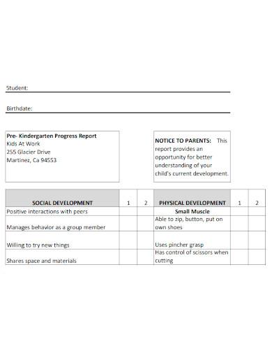 kindergarten progress report formats