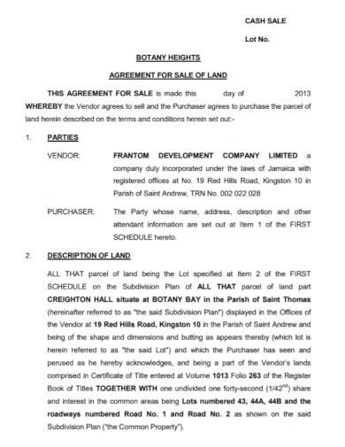 land cash sale agreement