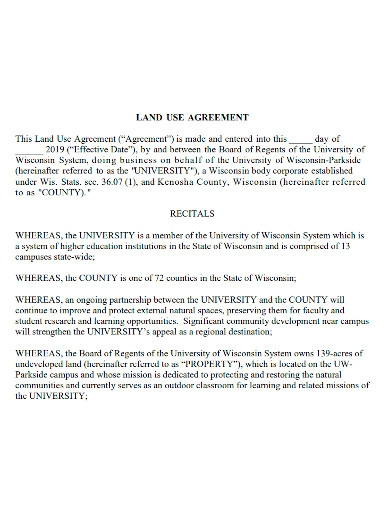 land use agreement sample