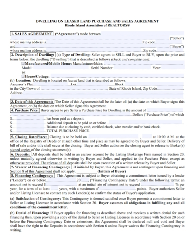 leased land purchase and sale agreement