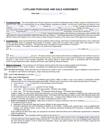 lot land purchase and sale agreement