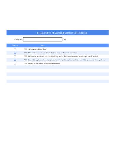 machine maintenance checklist