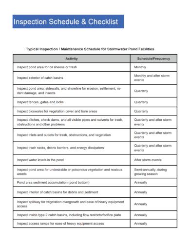 maintenance inspection schedule checklist