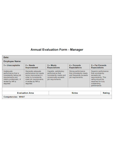 manager annual evaluation form