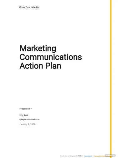 marketing communications action plan template