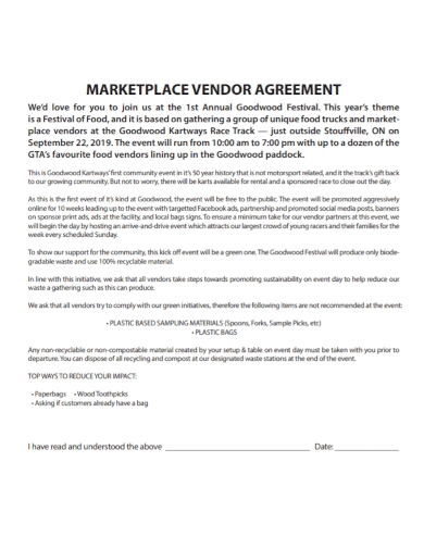 marketplace vendor agreement