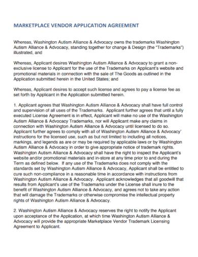 marketplace vendor application agreement