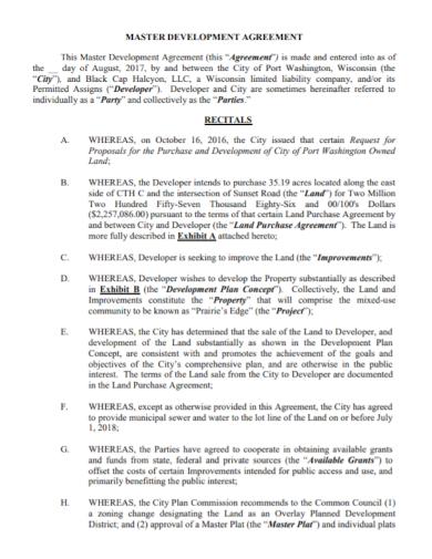 master development land purchase agreement