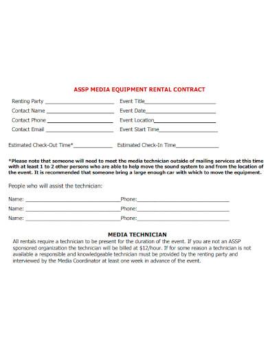 media equipment rental contract