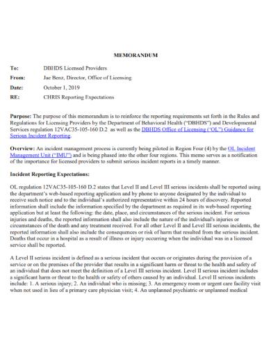 memorandum for incident report expectation