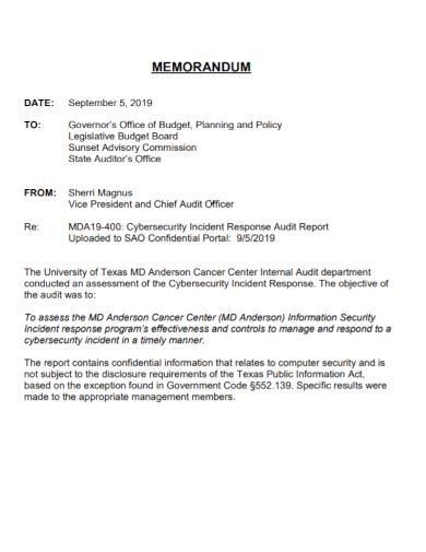 memorandum for incident response audit report