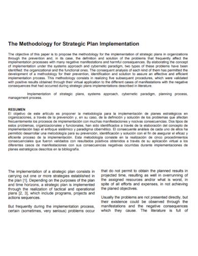 methodology for strategic implementation plan