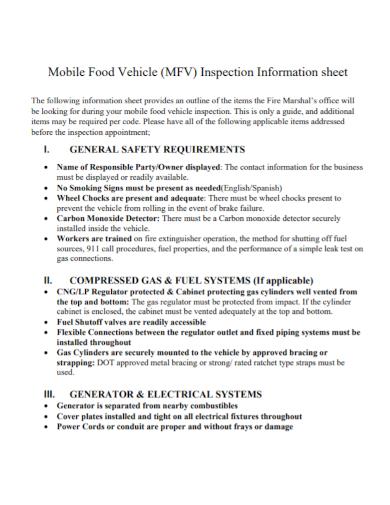mobile food vehicle inspection information sheet
