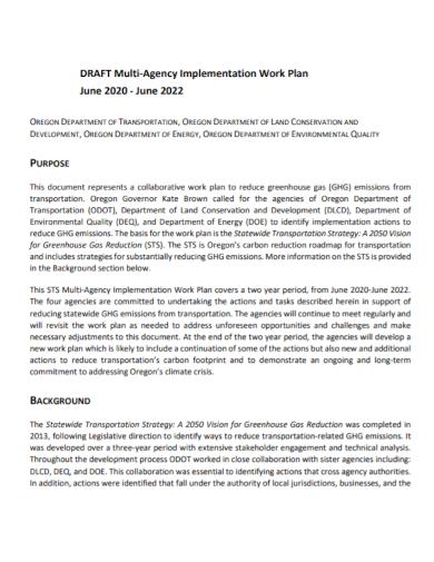 multi agency implementation work plan