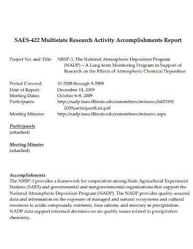 multistate research activity accomplishments repor
