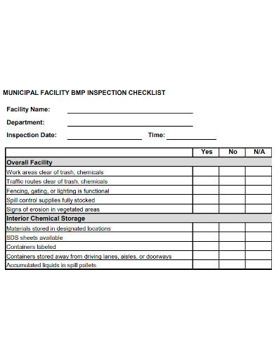 municipal facility inspection checklist