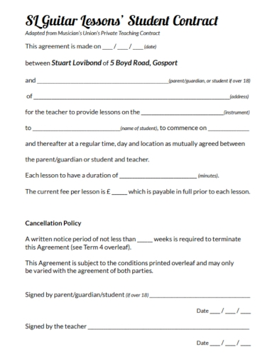 musician student teaching contract