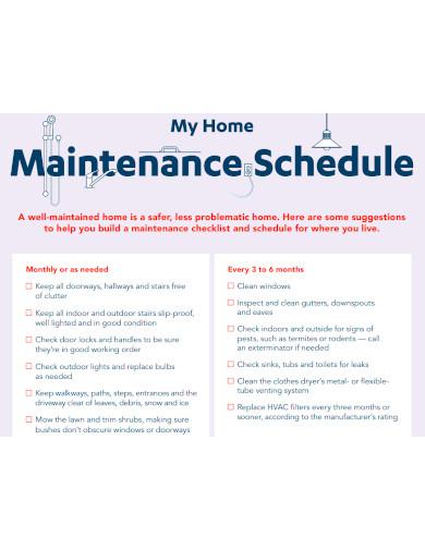 my home maintenance schedule