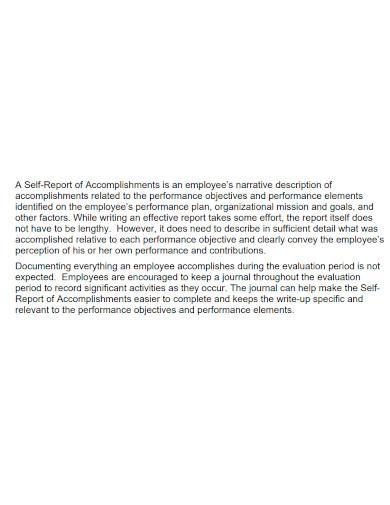narrative accomplishment self report