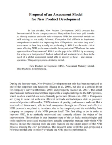 new product development assessment proposal